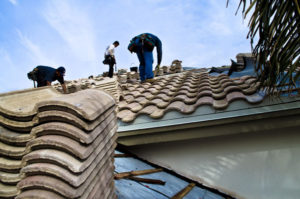 Clay Tile Roof Being Installed